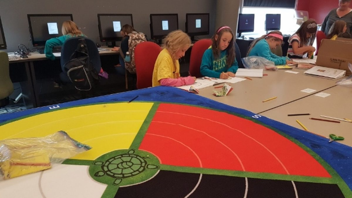 Children from the Battle River School Division learn about a medicine wheel